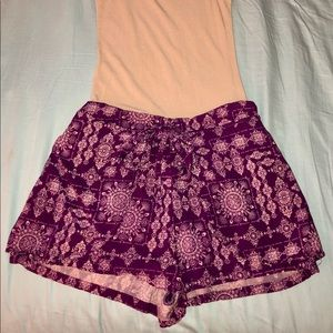 Purple Flowy Cloth Shorts with Knot/Tie in front